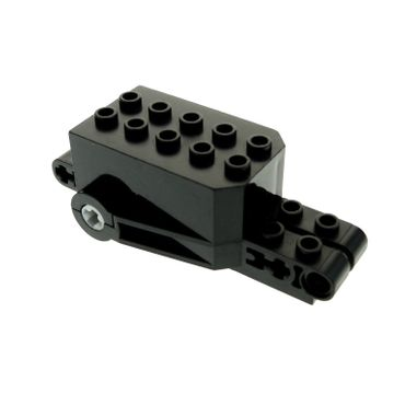 1 x Lego brick black Pullback Motor 9 x 4 x 2 1/3 with Black Base White Axle Holes Studs on Front Top Surface 32283c02