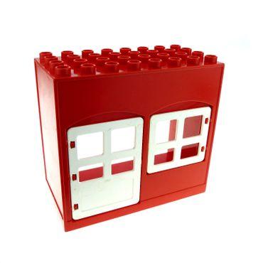 1 x Lego Duplo Gebäude Haus rot weiss 4x8x6 schmal Zimmer Tür Tor Fenster Puppenhaus 2205 2206 6431