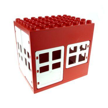 1 x Lego Duplo Gebäude Stall rot weiss 6x8x6 gross Feuerwehr Haus Puppenhaus mit Fenster Tür Tor 2206 2205 2209 2210