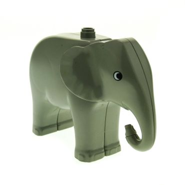 1 x Lego brick Light Gray Duplo Elephant Adult with Moveable Head One Stud on Back 2177c01pb01