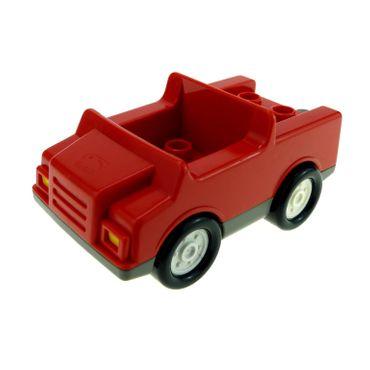 1 x Lego Duplo Fahrzeug Auto rot alt-dunkel grau Räder weiss PKW für Feuerwehrwagen 4 Noppen im Sitz klein für Set 3083 2218c04