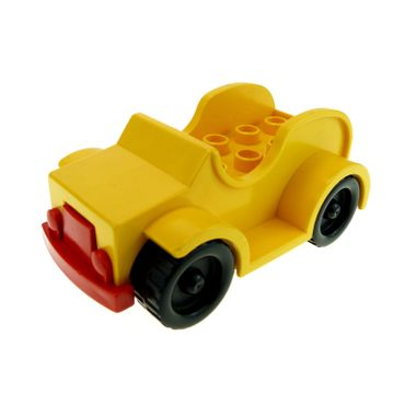 1 x Lego Duplo brick Yellow Car with 2 x 4 Studs and Running Boards Red Bumper Black Wheels for Set 2610 2651 9152 9153 4853c02