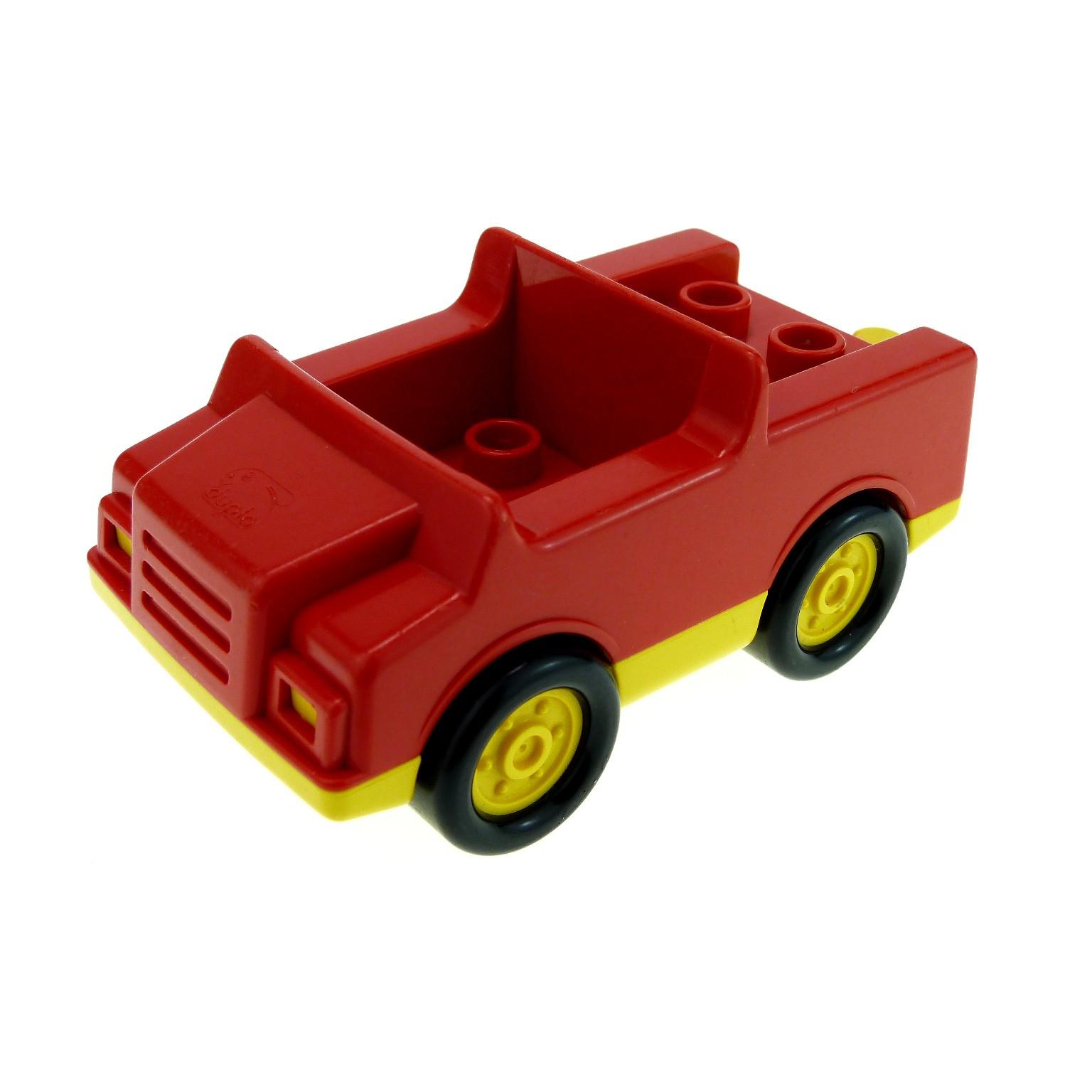 1 x lego duplo fahrzeug auto rot gelb pkw f r feuerwehrwagen 4 noppen im sitz klein f r set 9181. Black Bedroom Furniture Sets. Home Design Ideas
