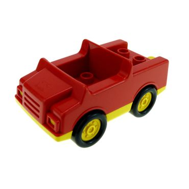 1 x Lego Duplo brick red Car with 2 x 2 Studs and yellow Base and yellow wheels for Set 9181 2218c01