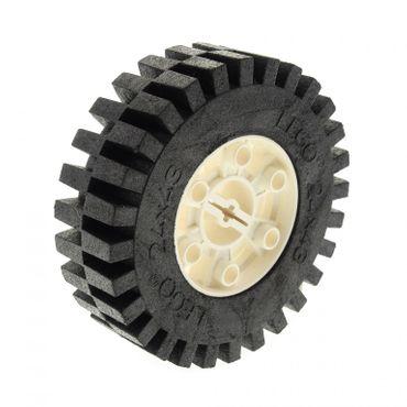 1 x Lego Technic Rad Reifen schwarz 24 x 43 Racing Felge weiss 24x43 Technik ( 3739 / 3740 ) 3739c01