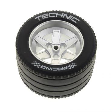 1 x Lego Technic Rad schwarz 62mm D. x 46mm Racing Felge metallic silber Technik für Set 8458 (22969 / 32296pb01) 22969c04