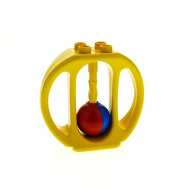 1 x Lego brick Yellow Duplo Rattle Oval with Red/Blue Wheel bab007