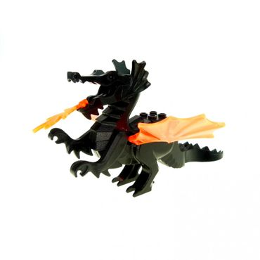 1 x Lego brick Black Dragon Classic Complete Assembly with Trans-Neon Orange Wings 6129c04