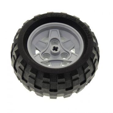 1 x Lego Technic Auto Fahrzeug Rad  schwarz 68.7 x 34 R Reifen Felge neu-hell grau 43.2mm D. x 26mm mit 3 Pin Löcher Technik Set 8048 8262 8049 (41896 / 61480) 41896c03