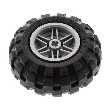 1 x Lego Technic Auto Fahrzeug Rad schwarz Räder 56x26 Felge neu-hell grau 30.4mm D.x20mm Ballon Reifen Technik 55376 56145c02