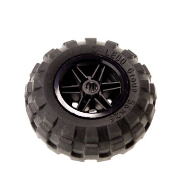 1 x Lego brick Black Wheel 30.4mm D. x 20mm with No Pin Holes and Reinforced Rim with Black Tire 56 x 26 Balloon (56145 / 55976) 56145c02