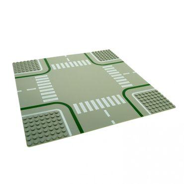 1 x Lego System Bau Platte Kreuzung 7N alt-hell grau 32 x 32 Noppen 32x32 Strasse Zebrastreifen 2361p01
