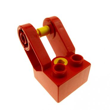 1 x Lego brick red Duplo Toolo Brick 2 x 2 with Angled Bracket with Forks and 2 Screws 6284c01