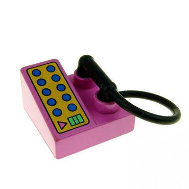 1 x Lego brick Dark Pink Duplo Utensil Telephone on Brick 2 x 2 6489