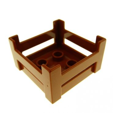 1 x Lego brick Dark Orange Duplo Container Wooden-Style Crate 6446