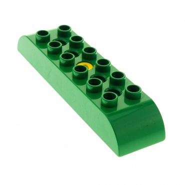 1 x Lego brick green Duplo Toolo Brick 2 x 8 with Curved Tops 6671c01