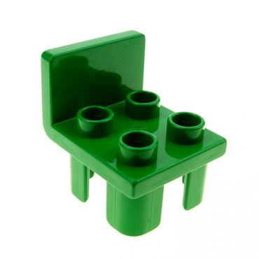 1 x Lego brick green Duplo Furniture Chair with 4 Studs and Squared Back Set 2811 2818 2817 6478