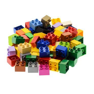 70 x LEGO DUPLO Brick 2x2 3437  BASIC BUILDING BLOCKS Stones 4er Kiloware  color mixed randomly – Bild 4