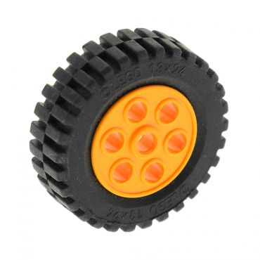 1 x Lego Technic Rad schwarz 30mm D.x13mm Felge medium hell orange Räder 13x24 Technik Model Team Set 4589 2696 2695c01