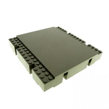 1 x Lego System Bau Platte alt-dunkel grau 16x16 x 2 Bahnsteig Bahnhof Rampe Plattform Hafen Kante für Set 6479 4513 4560 4561 4556 2617