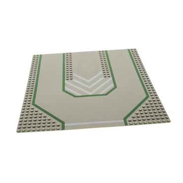 1 x Lego System Bau Basic Platte alt-hell grau grün 32 x 32 Noppen 32x32 mit 3 Einfahrten Auffahrt Strasse Feuerwehr 1966 6389 6385 6394 6100px3
