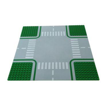 1 x Lego System Bau Platte 32x32 Kreuzung 8N grün grau 32 x 32 Noppen Straße Zebrastreifen 30282 611p01