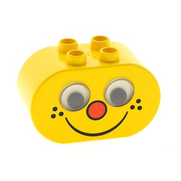 1 x Lego brick Yellow Duplo Brick 2 x 4 x 2 Rounded Ends and Rattling Eyes with Freckle Face Pattern 2071pb02
