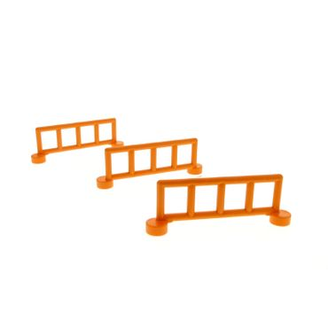 3 x Lego brick orange Duplo Fence Railing with 5 Posts 2214
