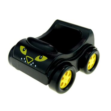 1 x Lego brick black Duplo Car with Eyes Leopard Pattern for Set Racing Leopard 1403 31363pb07