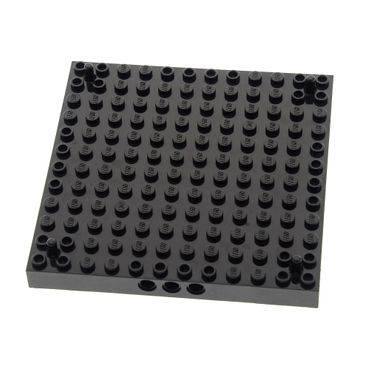 1 x Lego brick Black Brick Modified 12 x 12 with 3 Pin Holes on each Side and Peg at each Corner Set 7073 7074 4217004 47976c01