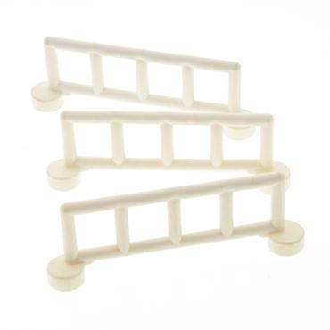 3 x Lego brick white Duplo Fence Railing with 5 Posts 221401 2214