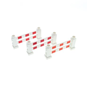 3 x Lego brick White Duplo Fence 1 x 6 x 2 with Red Stripes Pattern 31021p01