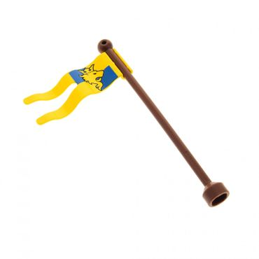 1 x Lego Duplo Flagge gelb Wappen Löwe 2 x 5 Fahne Mast Stange Antenne 1 x 9 reddish braun Ritter Burg Castle 51725pb02 51708