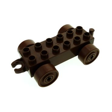 1 x Lego brick Brown Duplo Car Base 2 x 6 with brown Wheels and Open Hitch End 2312c04
