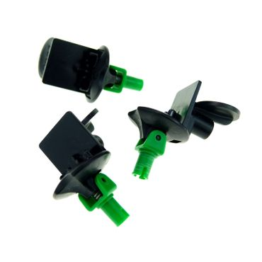 3 x Lego brick Black Sports Minifig Stand Soccer with Spring and Green Pin (Complete Assembly) 30488c01