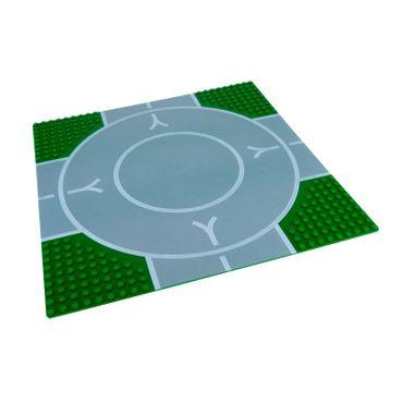 1 x Lego System Bau Basic Straße Platte Kreis Kreuzung 9N grün grau 32 x 32 Noppen 32x32 für Set Flugplatz 6392 6099px1