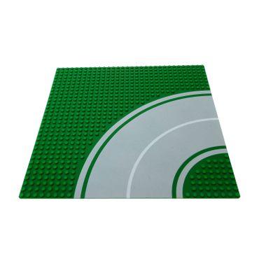 1 x Lego System Bau Basic Platte 32x32 grün grau 8N  Kurve 32 x 32 Noppen Straße viertel Kreis Bogen 30281 613p01