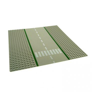 1 x Lego System Bau Platte Straße 9N alt-hell grau gerade 32x32 Noppen 32 x 32 Zebrastreifen Fußgängerübergang 606p02
