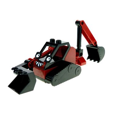 1 x Lego brick Dark Red Duplo Crawler Backhoe ' Benny ' Complete Assembly Bob the builder 52066px1 dbennyc01