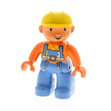 1 x Lego Duplo Figur Mann Bob der Baumeister Bauarbeiter hell blau orange Helm gelb Hände orange 47394pb029