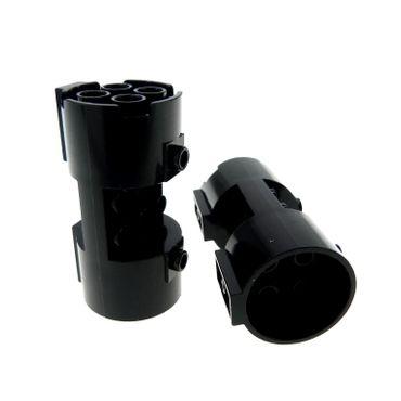 2 x Lego System Zylinder schwarz 3 x 6 x 2 2/3 3x6x2 2/3 Noppen leer Turbine Triebwerk Düse Star Wars Space Police Set 5984 5972 5982 7184 30360