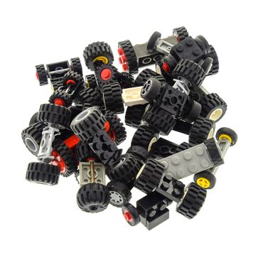 30 x Lego brick axles with 60 wheels shape and color mixed randomly
