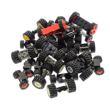30 x Lego brick axles with 60 wheels shape and color mixed randomly – Bild 3