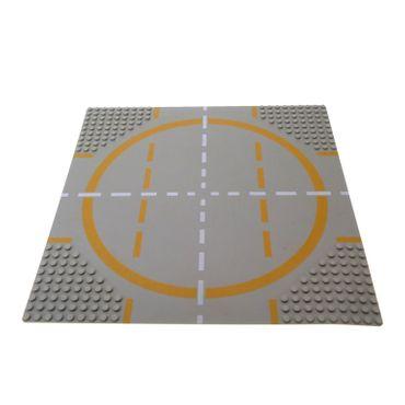 1 x Lego System Bau Platte 32x32 Kreis alt-hell grau 32 x 32 Noppen Landebahn Strasse Kreuzung orange gelb Futuron 9355 6980 6099p03