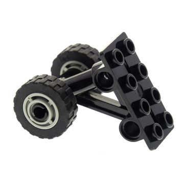 1 x Lego brick Black Plate Modified 2 x 4 Thin with Bottom Struts to Pins Wheel 11mm D. x 8mm with Center Groove with Black Tire 17.5mm D. x 6mm with Shallow Staggered Treads (42610 / 42611) 42608  42610c04