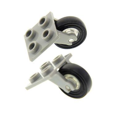 2 x Lego System Achse alt-hell grau 2x2 mit Rad transparent weiss Reifen schwarz glatt für Set Flugzeug 1775 6345 (2415 / 3464 / 3139) 2415c01