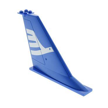 1 x Lego System Heck Leitwerk blau 14 x 2 x 8 mit Fluggesellschaft Vogel weiss Flosse Flugzeug Airline Bird für Set 7893 54094pb01