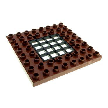 1 x Lego Duplo Bau Platte reddish rot braun schwarz 8x8 Noppen Falltür Öffnung Gitter Tür Burg 4249078 51705 51706