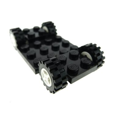 1 x Lego brick black Vehicle Base 4 x 7 x 2/3 with White Wheel 8mm D. x 6mm with Black Tire Offset Tread Small (4624 / 3641) 244126 4624c02 2441