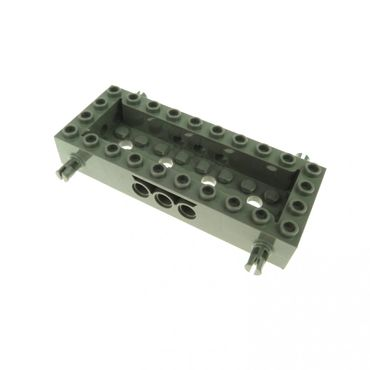 1 x Lego brick Dark Gray Vehicle Base 4 x 10 x 1 1/3 with 8 x 2 Recessed Center 4 Pins Technic Holes 30643